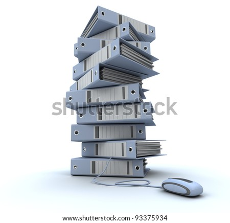 3D rendering of a pile of office ring binders connected to a computer mouse - stock photo