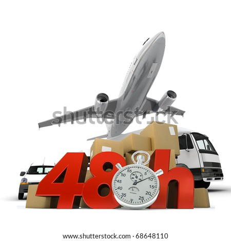 3D rendering of  a pile of packages and an airplane with the words 48 Hrs and a chronometer