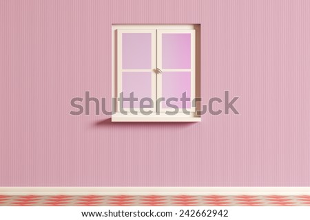 3d rendering of a pink room and an a window - stock photo
