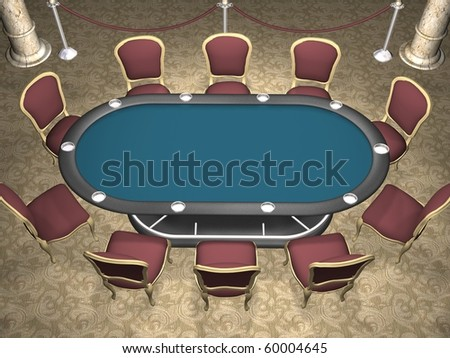 3D rendering of a poker table with chairs. (Perspective view) - stock photo