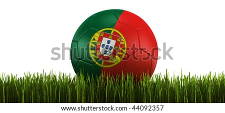 3d rendering of a Portuguese soccerball lying in grass