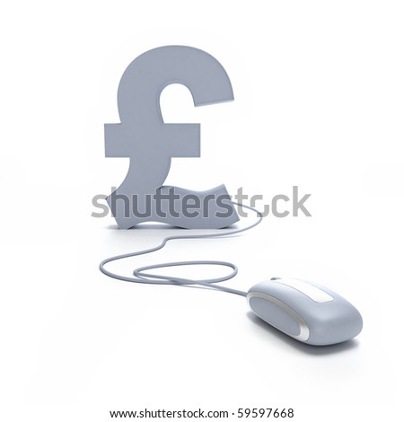 3D rendering of a Pound symbol connected to a computer mouse - stock photo