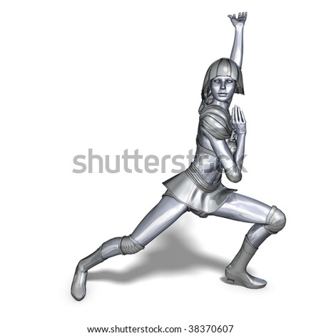 3D rendering of a powerful silver heroine rescues the world with clipping path and shadow over white