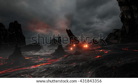 3D rendering of a prehistoric lava environment.