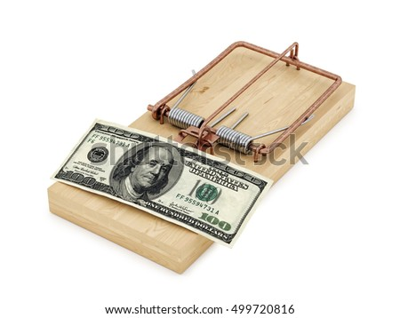 3d rendering of a rat trap with 100 dollar bill, isolated on white