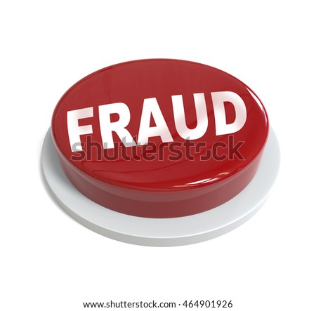 3d rendering of a red button with fraud word  written on it isolated on white background