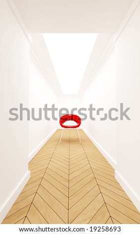 3D rendering of a Red chair in a blind corridor - stock photo