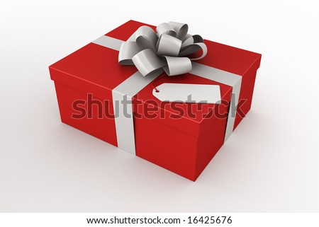 3d rendering of a red gift box with a tag