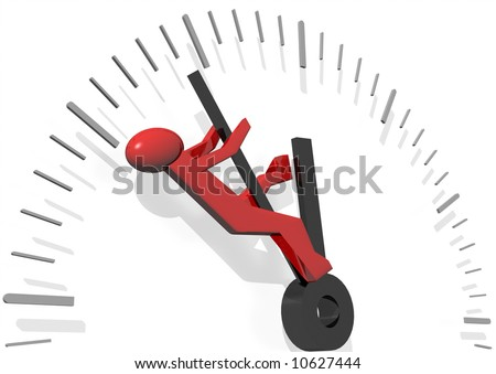 3d rendering of a red man trying to save time - stock photo