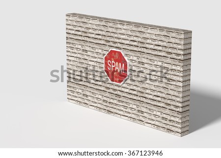 3d rendering of a red Spam traffic sign on brick three-dimensional wall.Illustration - stock photo