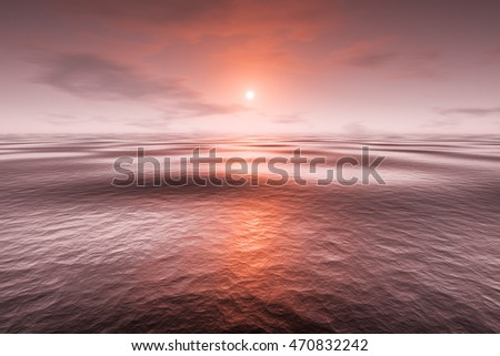 3d rendering of a red sunset over the sea