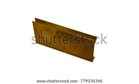 3d rendering of a reflective golden door isolated on white