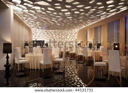 3D rendering of a restaurant interior design - stock photo