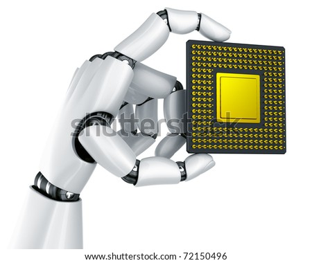 3d rendering of a robot hand holding a CPU