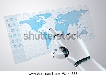 3d rendering of a robothand touching a virtual screen with a worldmap - stock photo