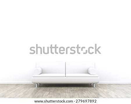 3d rendering of a room and a sofa with space for your content - stock photo