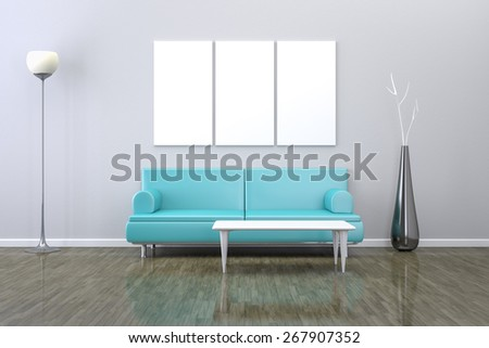 3D rendering of a  room with a sofa and background for your own content - stock photo