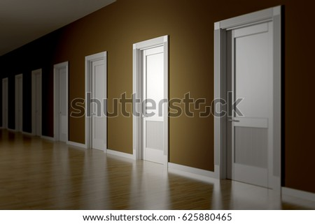 3d rendering of a room with seven doors to choose & 3 D Rendering Room Seven Doors Choose Stock Illustration 625880465 ...
