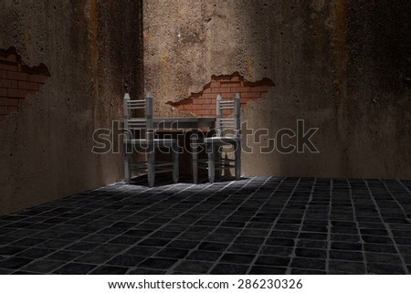 3d rendering of a rustic table and chairs on an old room
