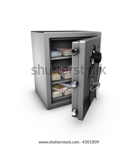 3d rendering of a safe, isolated on white background,  with a lot of euros inside.