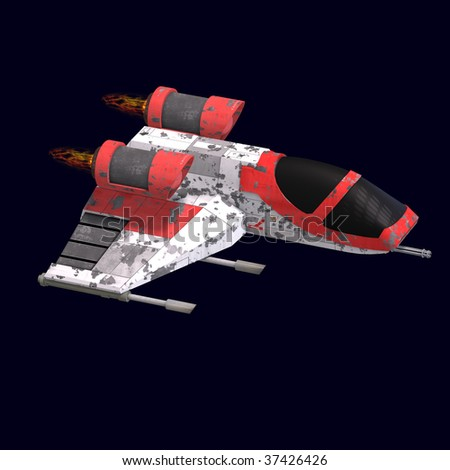 3D rendering of a sci fi spaceship in universe with clipping path and shadow over white - stock photo