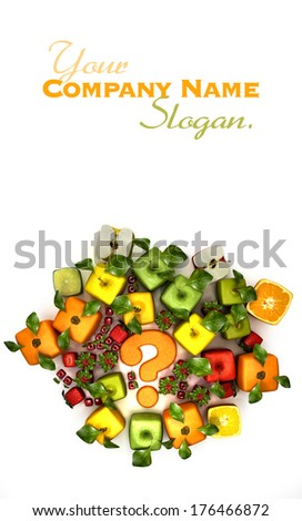 3D rendering of a selection of cubic fruits surrounding a question mark - stock photo