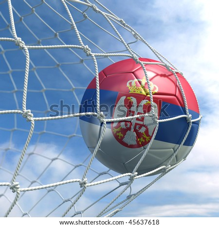 3d rendering of a Serbian soccer ball in a net - stock photo
