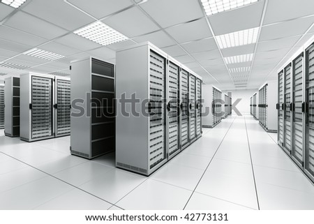 3d rendering of a server room with white servers - stock photo