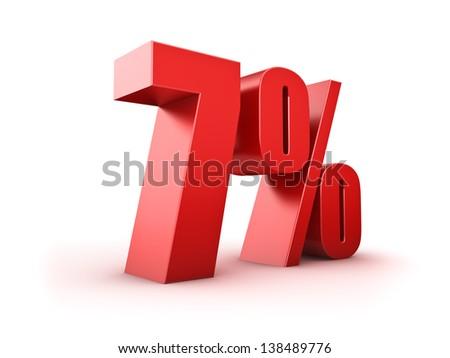 3D Rendering of a seven percent symbol - stock photo