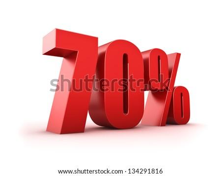 3D Rendering of a seventy percent symbol - stock photo