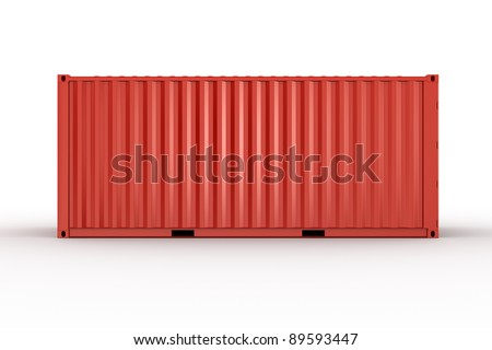 3d rendering of a shipping container seen straight from the side - stock photo