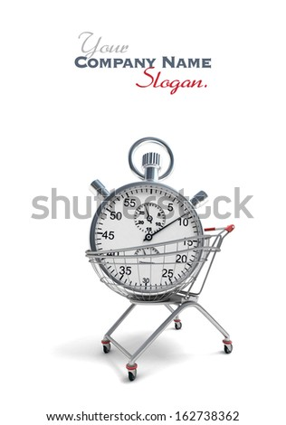3D rendering of a shopping cart with a stopwatch inside   - stock photo