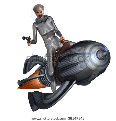 3D rendering of a silver pin-up girl riding on a retro rocket with clipping path and shadow over white - stock photo