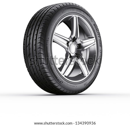 3d rendering of a single car tire on a white background - stock photo