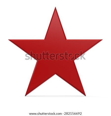 3d rendering of a single red star - stock photo