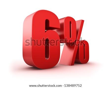 3D Rendering of a six percent symbol - stock photo