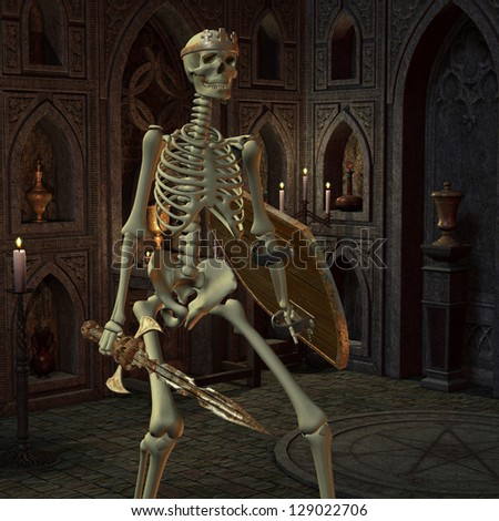 3D rendering of a skeleton warriors in the altar room
