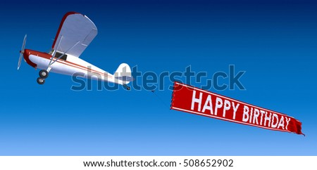 3D rendering of a small aircraft carrying a banner with happy birthday