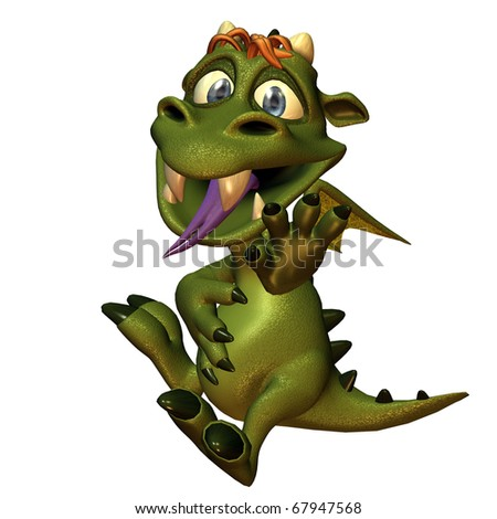 3d rendering of a small dragon  with full stomach in comic style as illustration