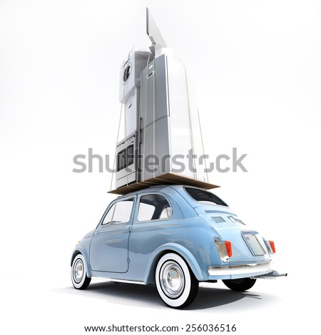 3D rendering of a small retro car carrying household electrical appliances - stock photo