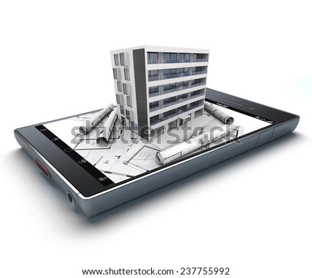 3D rendering of a smart phone with a building and blueprints jutting out - stock photo