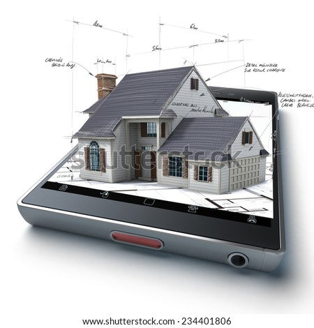 3D rendering of a smart phone with a house and blueprints jutting out - stock photo