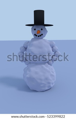 3D rendering of a smiling snowman with black hat