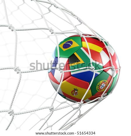 3d rendering of a soccer ball in a net with flags of the participating countries in world cup 2010 - stock photo