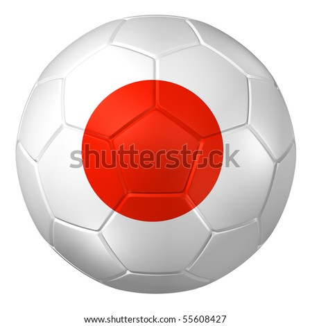3d rendering of a soccer ball. (japan Flag Pattern )
