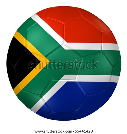 3d rendering of a soccer ball. ( South Africa Flag Pattern ) - stock photo