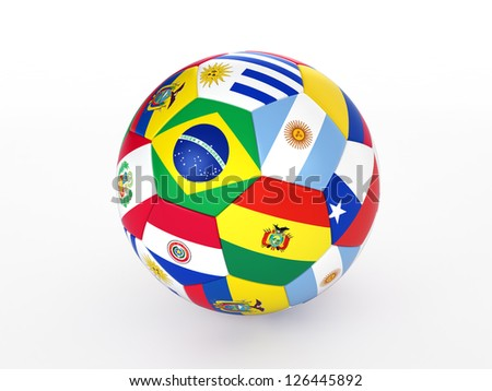 3d rendering of a soccer ball with flags of the countries of South America - stock photo
