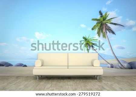 3d rendering of a sofa in front of a photo wall mural with a palm beach - stock photo