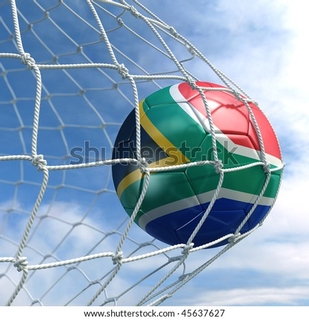 3d rendering of a South African soccer ball in a net - stock photo