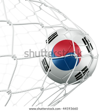 3d rendering of a South korean soccer ball in a net - stock photo